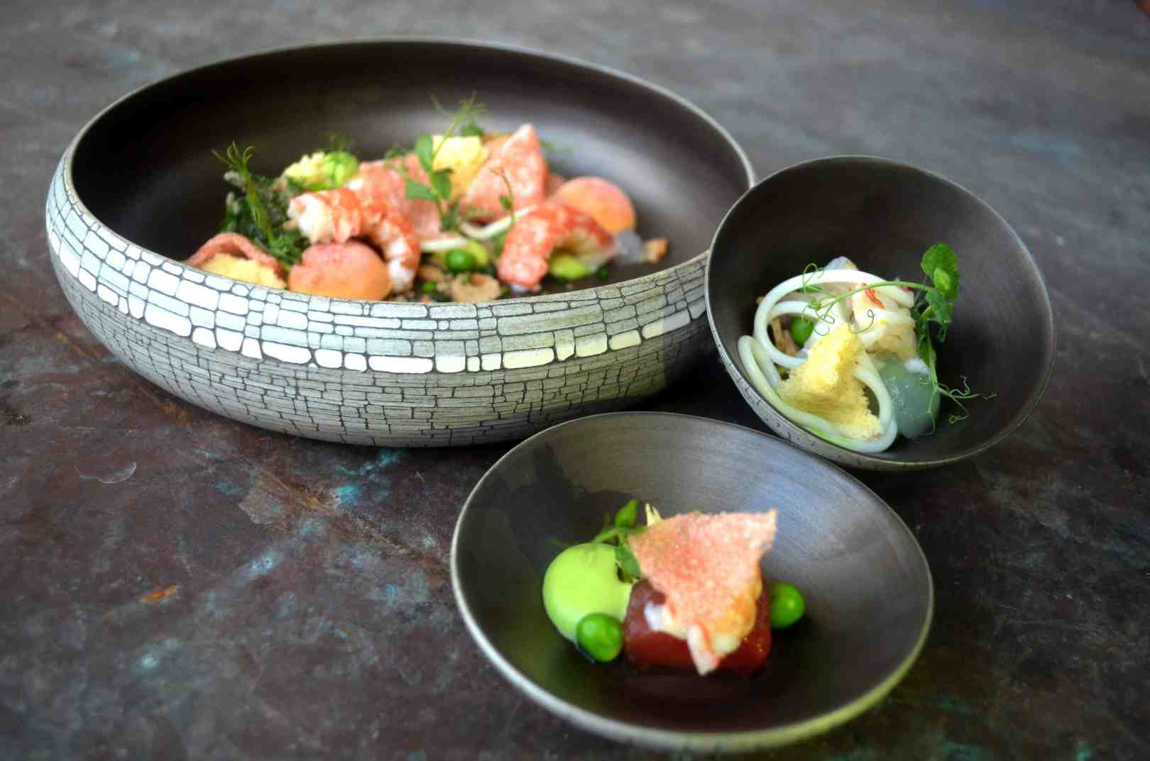 These plates serve to highlight the freshness of the food