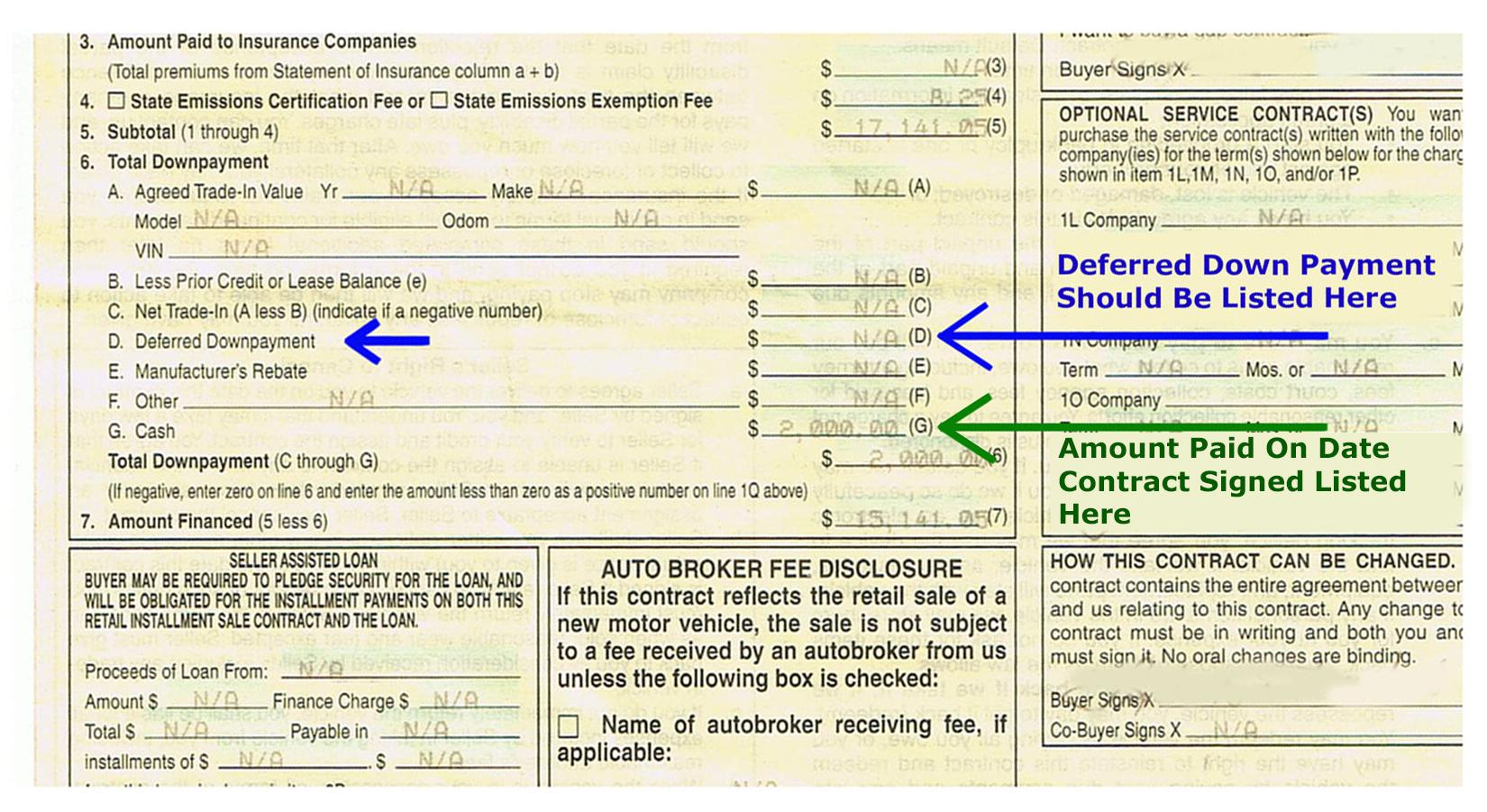 Failing To Properly Document Deferred Down Payments
