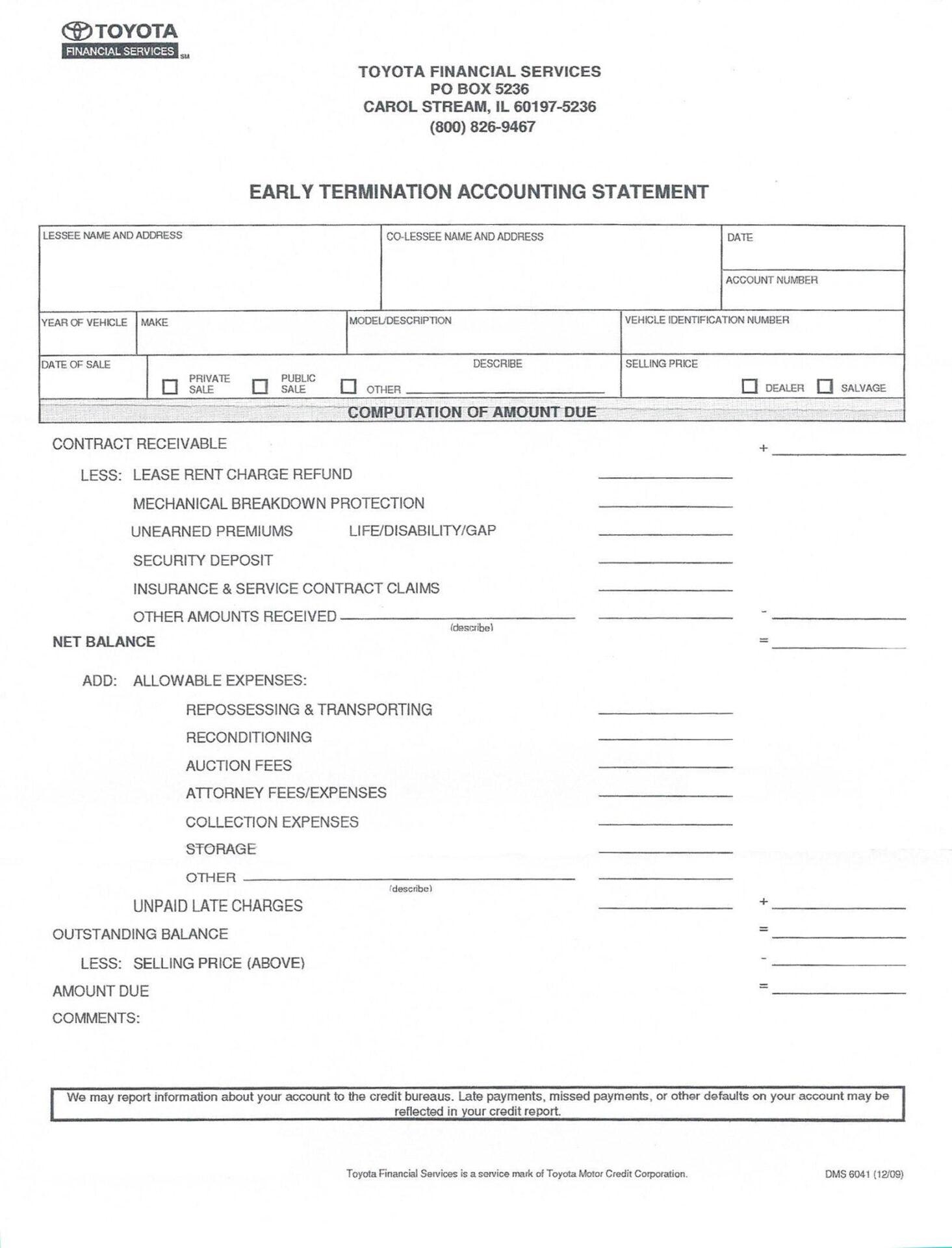 Sample Post-Repossession Account Statement).