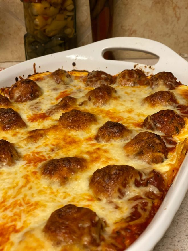 Cheesy Baked Spaghetti with Meatballs