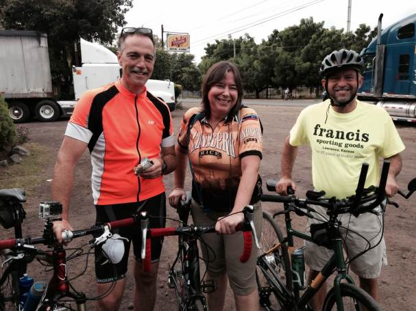 Vince, Helen and Wayne, looking happy because there's breakfast ahead.