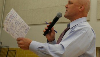 His notes in hand, Mayor Mitch Landrieu answers questions during the first public meeting on the budget on Aug. 13.