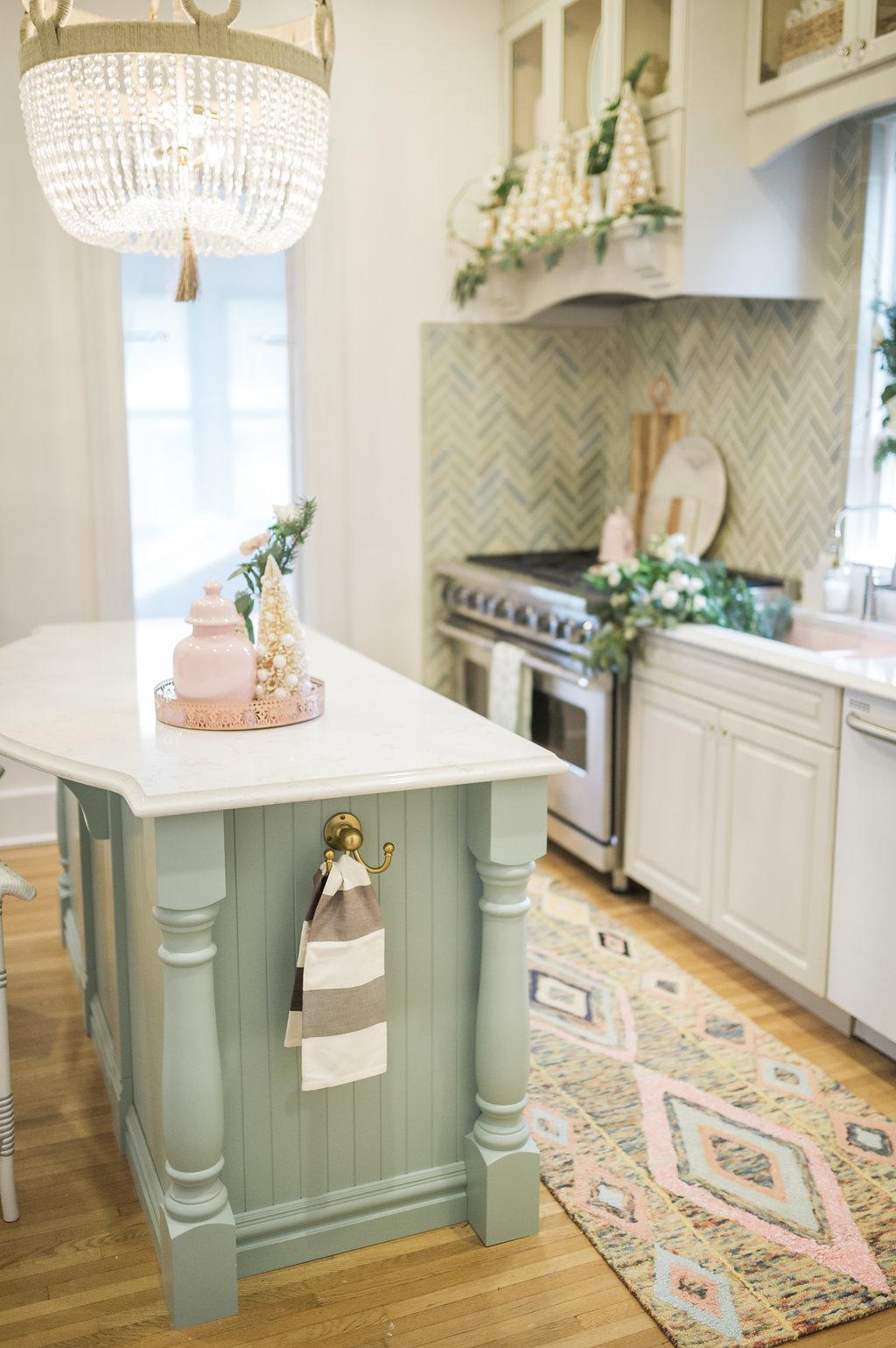 blue kitchen island modern cabinet wythe frankie malibu chandelier the leslie style