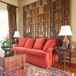 Living Room Red Sofa Le Corbusier Sleeper Millbrook Mountain Home Tour | The Lettered Cottage