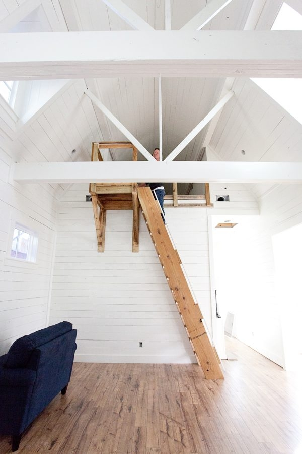 Bungalow Barn Update Loft Stairs The Lettered Cottage | Spiral Staircase Into Loft | Loft Conversion | Small Spaces | Tiny House | Space Saving | Staircase Design
