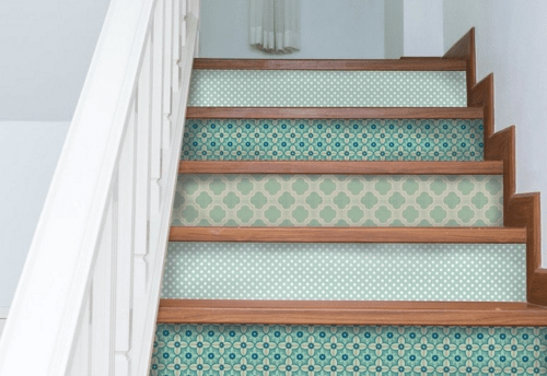 Peel And Stick Stair Risers Floor Tiles And Pretty Wood Floor | Floor Tiles Design For Stairs | Hallway Floor Tile | Stair Landing | House | Stair Riser | Wall