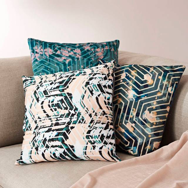 passion for pattern geometric cushion