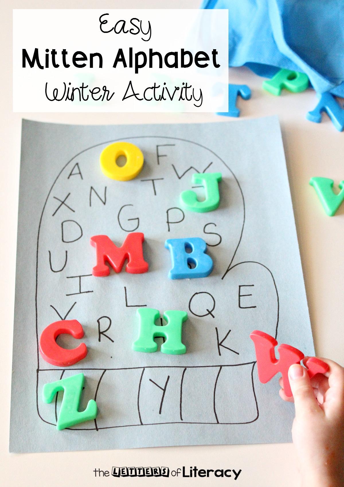 Easy Mitten Alphabet Winter Activity