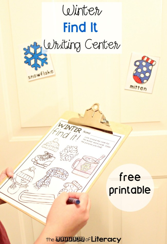 Winter Find It Writing Center FREE Printables