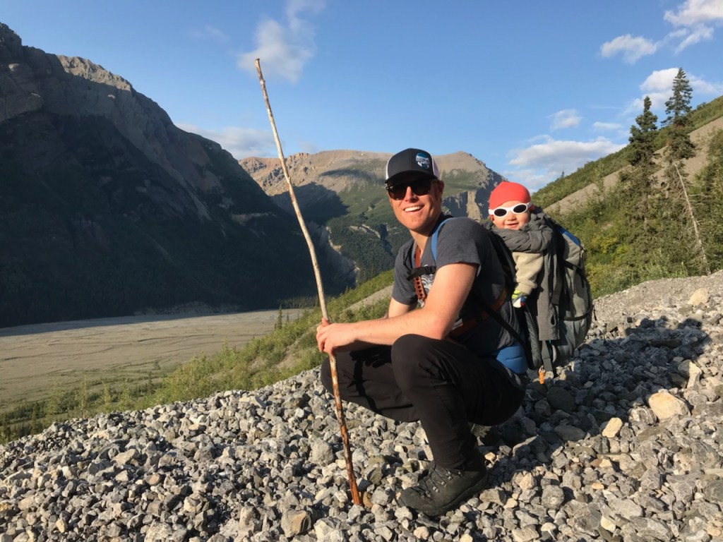 Dr Justin Libby hiking with his son