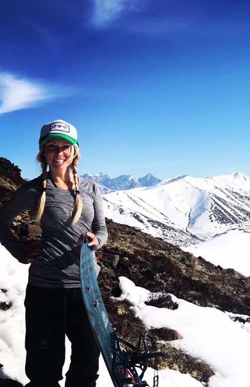 Nikki of The Libby Group Dental office enjoying snowboarding in the Chugach Mountains above Anchorage Alaska