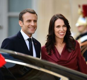 French President Emmanuel Macron and New Zealand PM Jacinda Ardern.