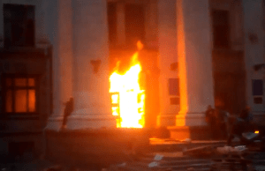 Screen shot of the fatal fire in Odessa, Ukraine, on May 2, 2014, as far-right Ukrainian nationalists burned alive scores of ethnic Russian Ukrainians. (From RT video)