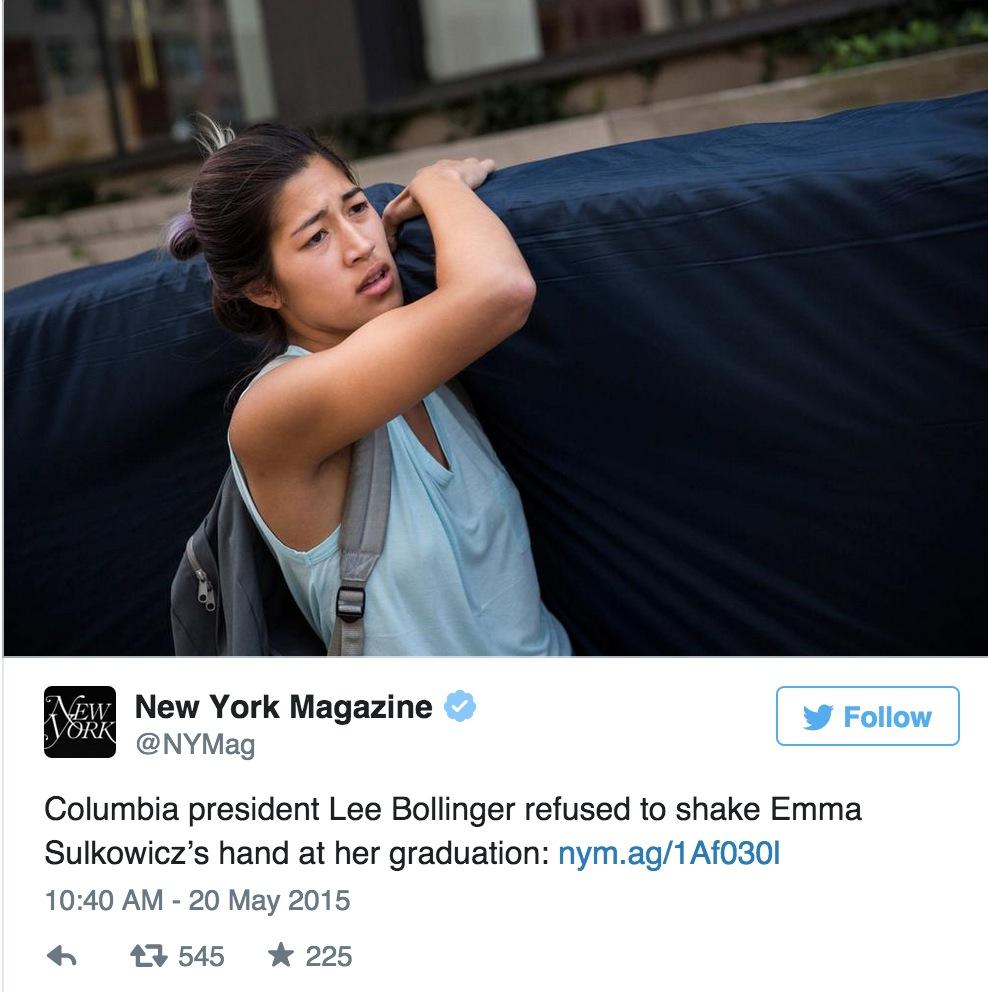Columbia President Snubs Mattress Girl At Graduation VIDEO