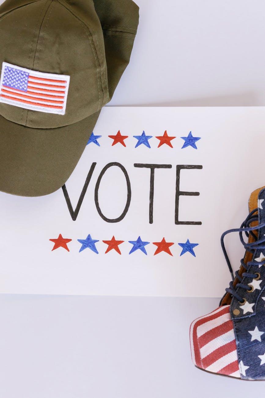 high angle shot of vote signage