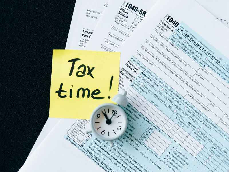tax documents on black table