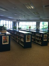 The fiction and biographies in the opposite corner of the library.