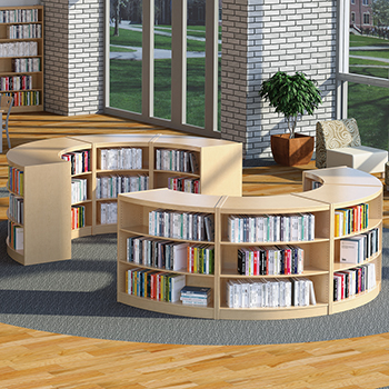 Russwood  Russwood® Curved Wood Library Shelving
