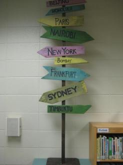 Sign posts created last spring for the 5th grade social.