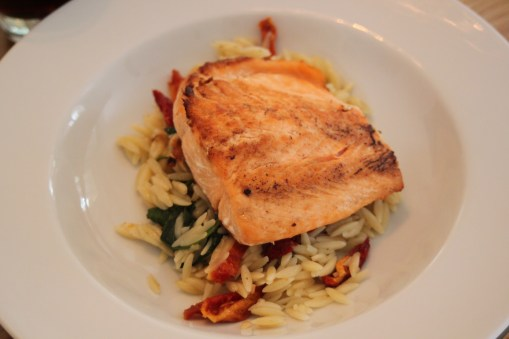 Salmon with orzo, sundried tomatoes and spinach...