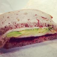 Mum decided to go for a fall sandwich. Turkey with Cranberry Jam, Avocado on Cranberry bread.