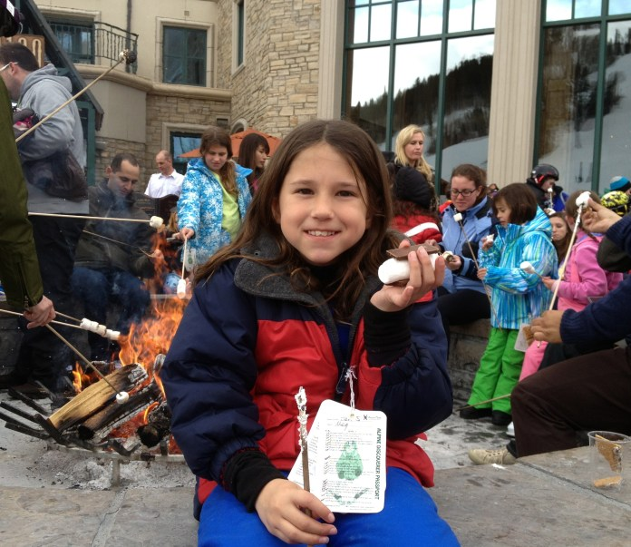 Meg doing Smores at Park Hyatt Beaver Creek