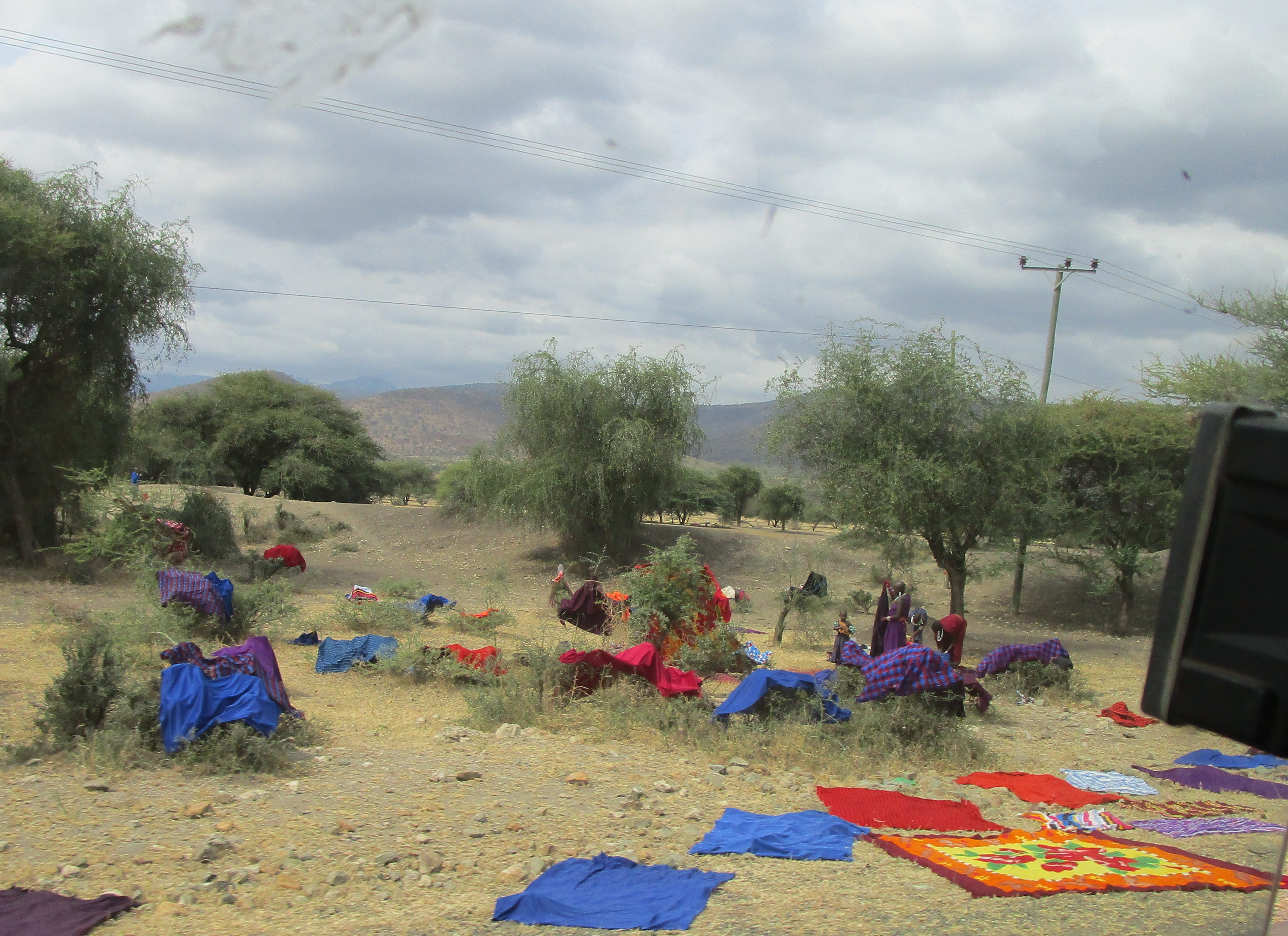 Villagers drying laundry Moshi