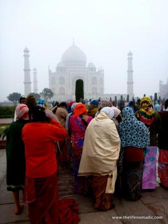 A very foggy morning at the Taj Mahal, Agra, India.