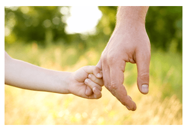 dad holding child's hand