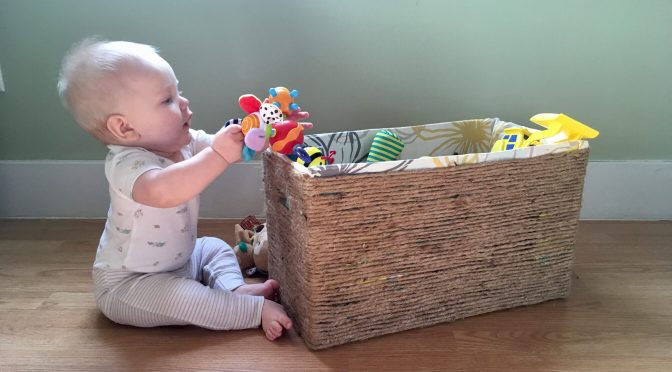 From Drab to Shab:  Diaper Box Baskets