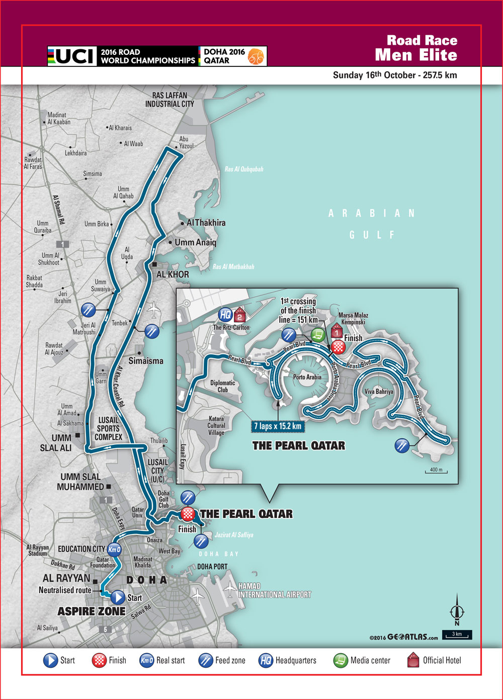 Doha 2016 Uci World Road Championships Men Elite Road Race Map The