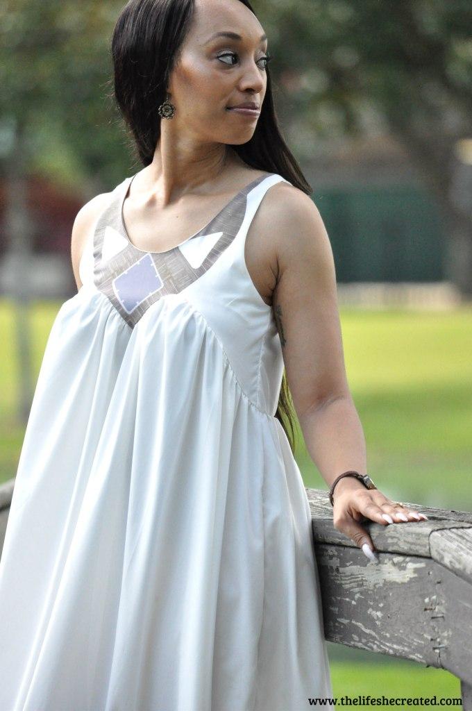 scoop neck white maxi dress