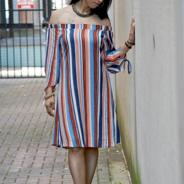 Off The Shoulder Stripe Dress With Denim Heels