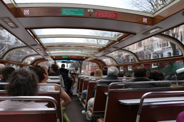 The inside of the canal cruise boat