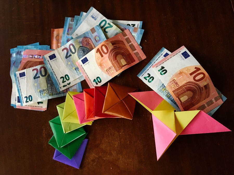 euro's divided up into envelopes