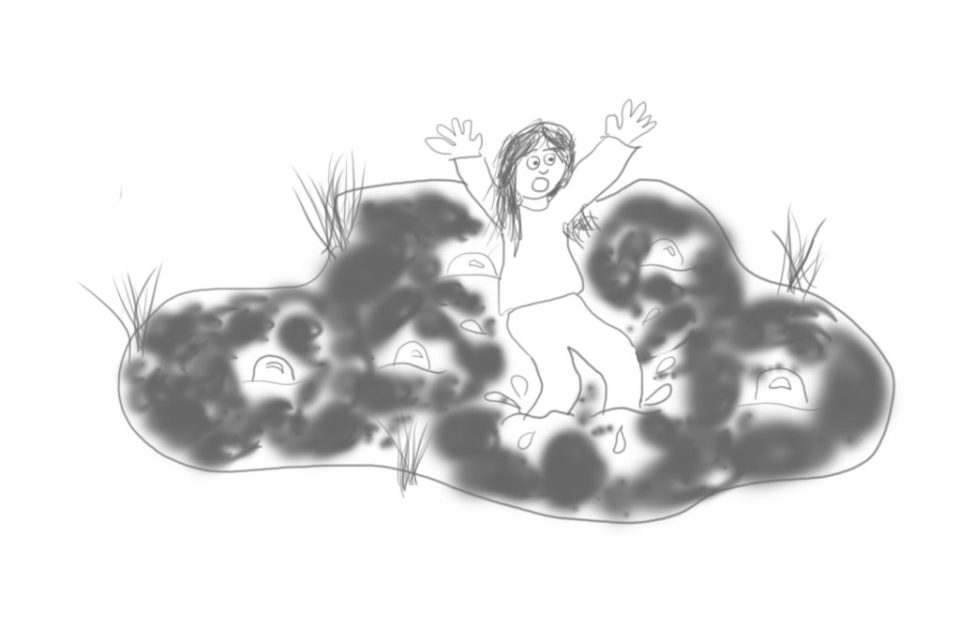 Cartoon doodle of a person stuck in a bubbling swamp