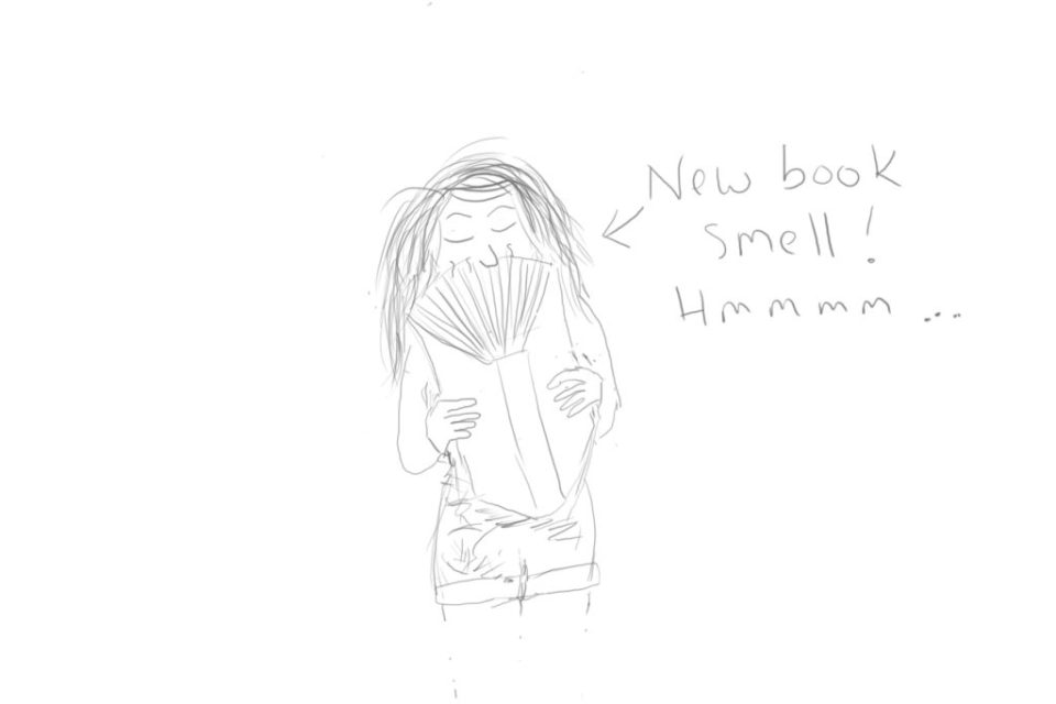 Cartoon image of a lady sniffing the pages of a new book