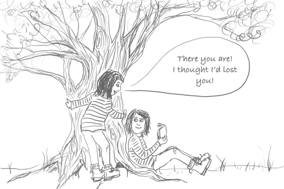 Cartoon image of a person discovering themselves under a tree reading a book