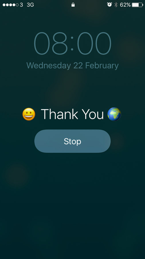 screenshot of phone 'gratitude' alarm