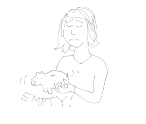 Cartoon image of a sad person shaking an empty piggy bank