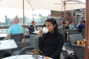 Having tea at Soho House.