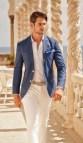 Blue Summer Wedding Men Dress Pants