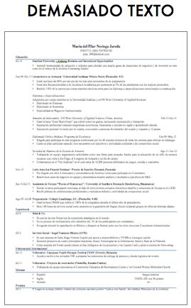 CV Demasiado Texto