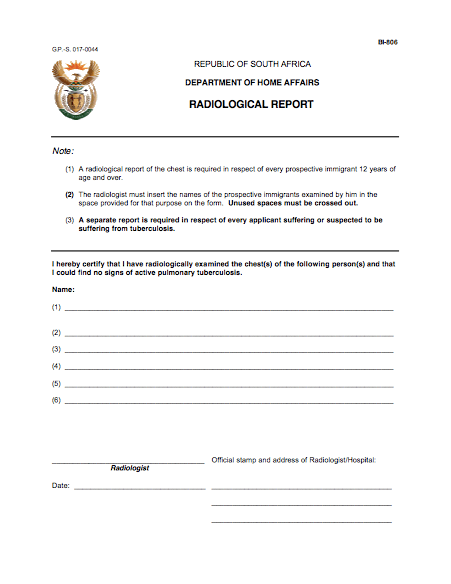 Critical skills visa South Africa - radiological report