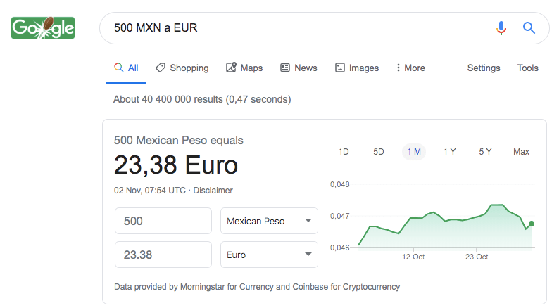 Google currency exchange
