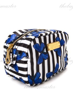 Marc Jacobs Nylon Cosmetic Pouch Stripe Butterfly Print Blue
