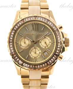 Michael Kors Everest Light Champagne Dial Gold-Tone and Horn Acetate Watch MK5874