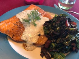 Salmon with Cream Sauce and Greens