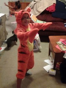 It seems we grow them small in our house.  This is O in the tigger costume he wore for Halloween when he was three.  Both he and A wore this costume as babies.  This year is K's turn.