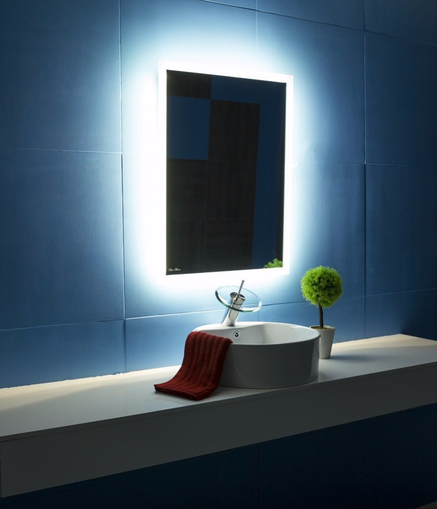 Backlit Bathroom Mirror Rectangle 24x32 In The Light